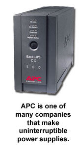 APC is one of many companies that make uninterruptible power supplies.