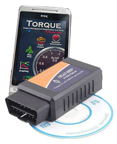 The ELM 327 OBD2 scanner works with the Torque Lite Android app.