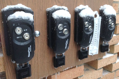 During testing, four Extreme Blue clocks endure an early-winter snowfall. All four are still running flawlessly.