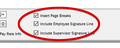 Check the bottom two boxes to have the report generate signature lines.